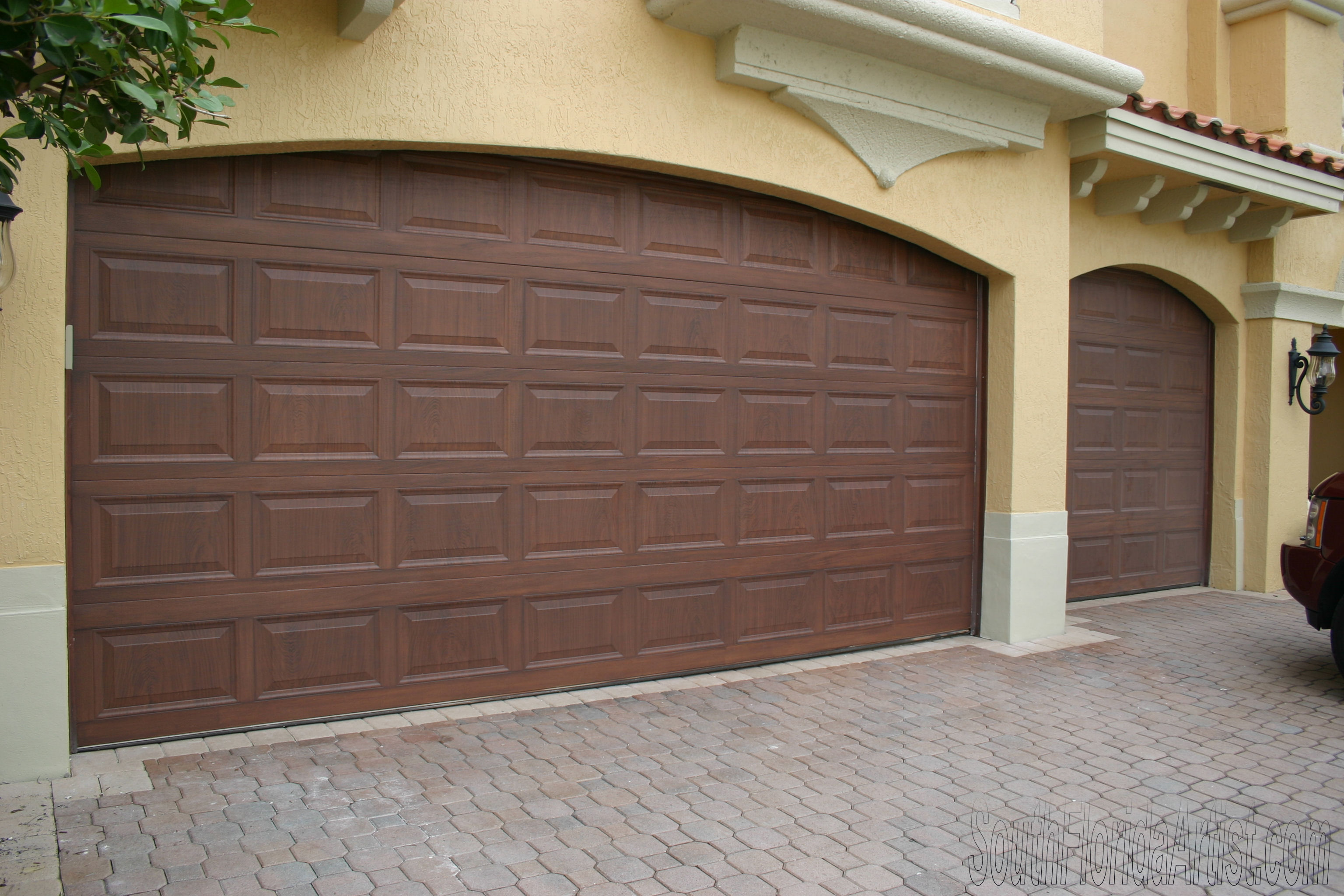 Few remodeling ideas with sone veneer and veneer brick for How to paint faux wood garage doors